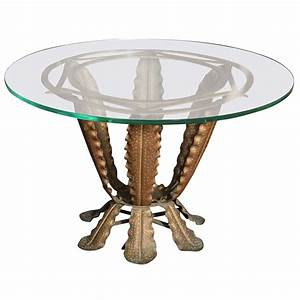 Pier one round glass top coffee table with funky base for Glass top circle coffee table