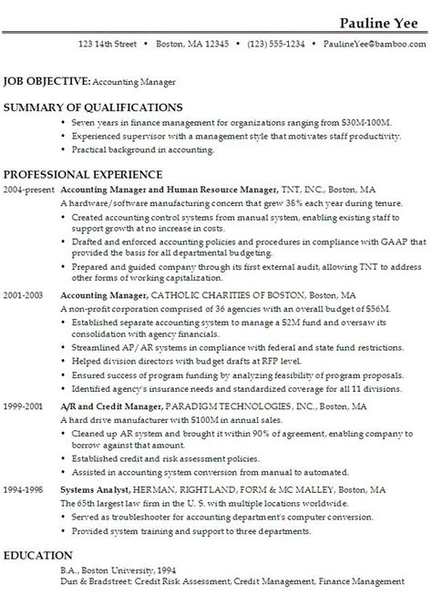 Resume For Accounting Manager by Accounting Manager Resume Exle Bijeefopijburg Nl