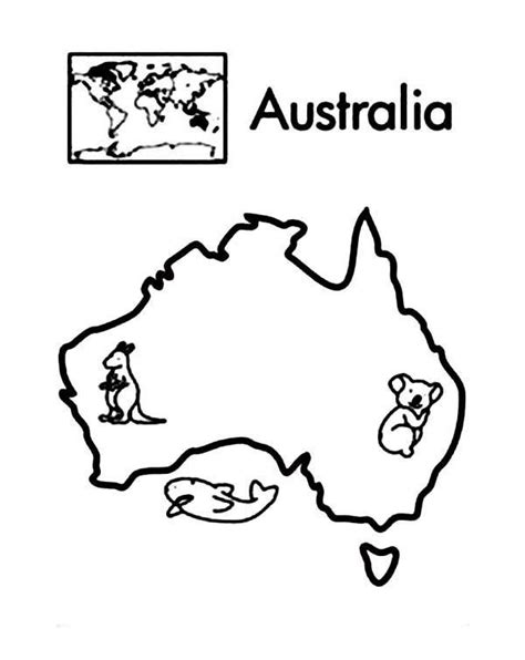 australia continent  world map coloring page world map