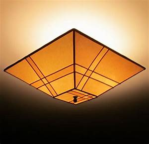 Pieced parchment paper square ceiling lamp shade sue