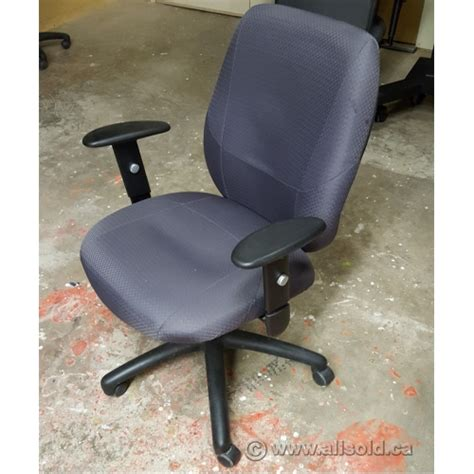 grey rolling adjustable office task chair with arms