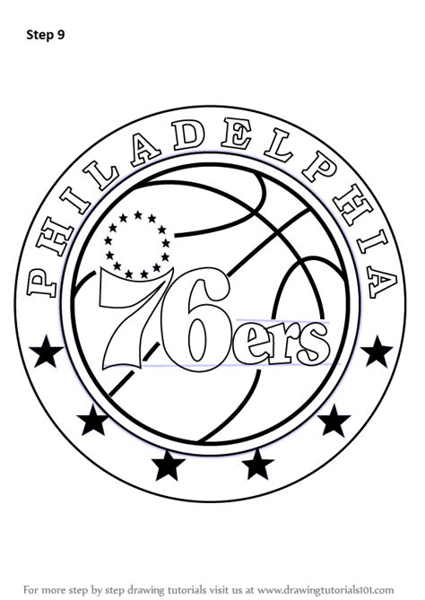 learn   draw philadelphia ers logo nba step  step drawing tutorials