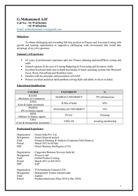 Ar Application Resume by Arif Mohammed Icwa Cma Resume