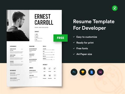 resume template  developers  portfolio