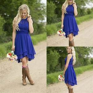 Cheap country bridesmaid dresses short 2016 modest royal for Royal blue wedding guest dress