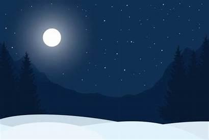 Night Winter Clip Vector Sky Mountain Illustrations