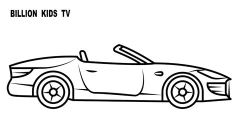 Coloring book for kids with convertible car YouTube