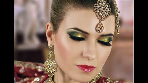 gold  green smokey eye bridal makeup tutorial asian indian pakistani arabic contemporary