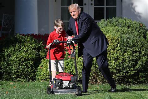 trump lawn president frank mowing donald boy mow grass giaccio office politico garden don virginia rose