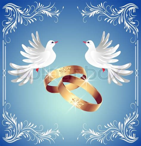 Wedding rings and two doves Stock Photo Colourbox