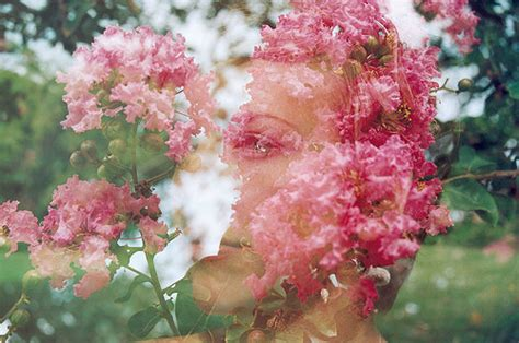 art clever color double exposure face flower image