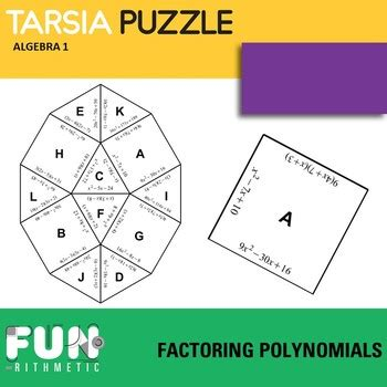 factoring polynomials puzzle by funrithmetic teachers pay teachers