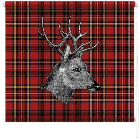 tartan stag printed blind picture printed blinds