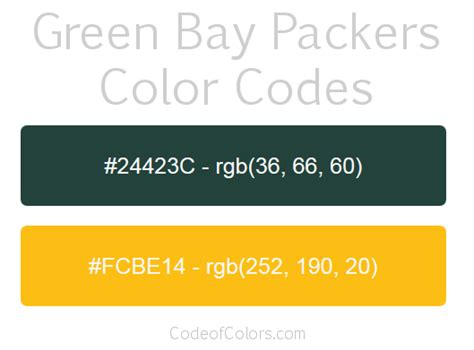green bay packer colors green bay packers colors hex and rgb color codes