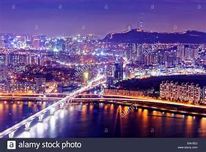 Seoul Tower and Downtown skyline at night, South Korea ...