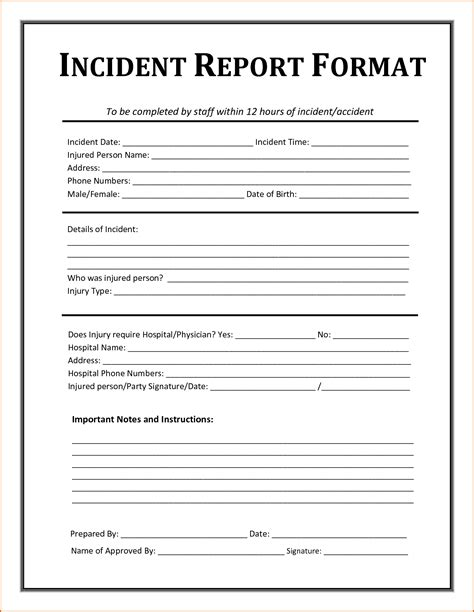 incident report template authorizationlettersorg