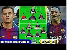 •Barcelona Starting XI With COUTINHO & DEMBELE 20172018