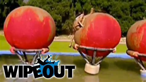 ouch man   splits  big red balls wipeout youtube