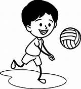 Coloring Volleyball Boys Boy Playing Awesome Wecoloringpage sketch template