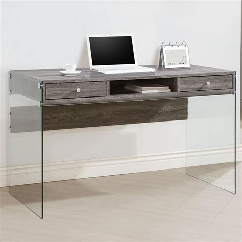 gray computer desk 800818 weathered gray computer desk from coaster 800818