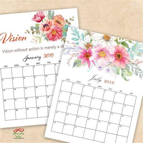watercolor floral calendar printable