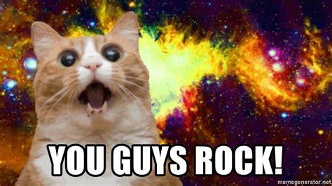 guys rock excited cat  food meme generator