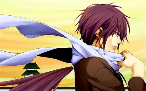 >.> my boy anime, really just to blow my imaginacion.he take my art here. long hair purple hair anime boys scarf hakuouki ...