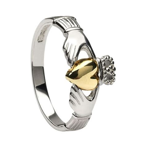 gold and silver ls silver and 10k gold claddagh ring ls clad6 mix