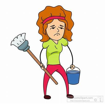 Cleaning Clipart Chores Woman Happy Mop Household