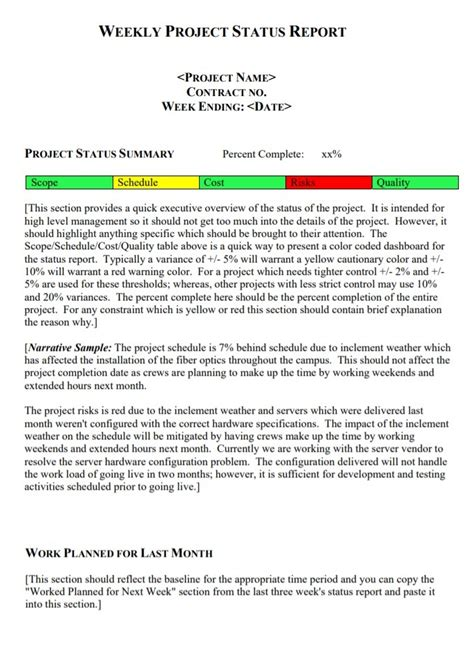 Weekly Report Template | Free Word Templates
