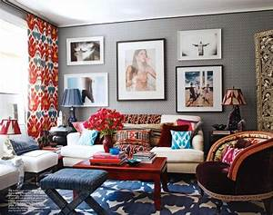 blue and red living room with a lot of pattern
