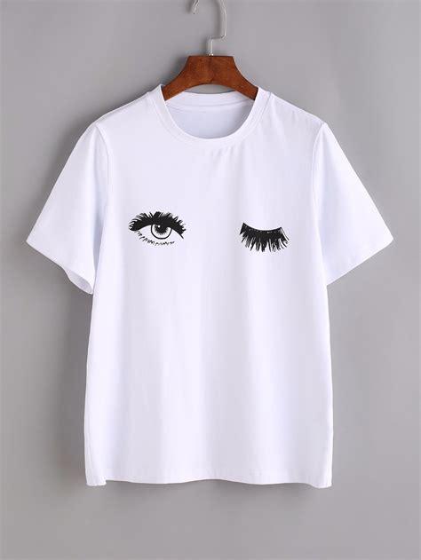 Wink Eyes Print Tee Sexy t shirt Women Printed tshirt summer style graphic tees tops drop ship ...