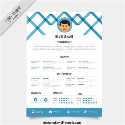 blue creative resume template vector