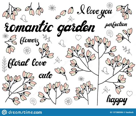 Vector Set Of Floral Branch Doodle Elements With Cute