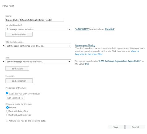 whitelisting by email header in exchange 2013 2016 or