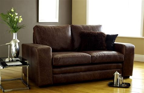 3 Seater Sofa Bed  Brown Modern Leather Sofabed Leather