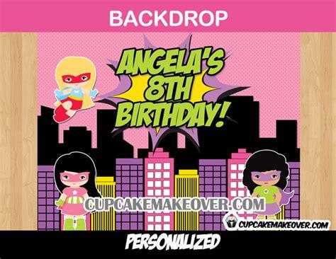 comic superhero girls party backdrop wall banner