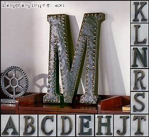 vintage metal monogram initials industrial style wall With wall decor hanging letters