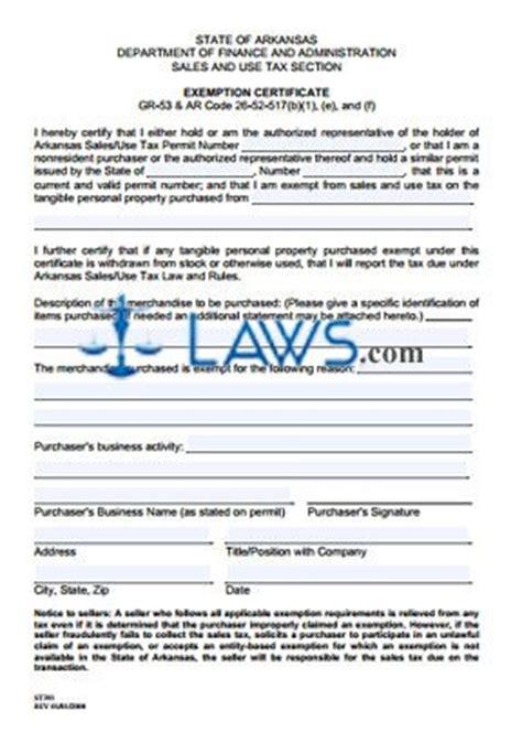 exemption certificate st  arkansas forms lawscom