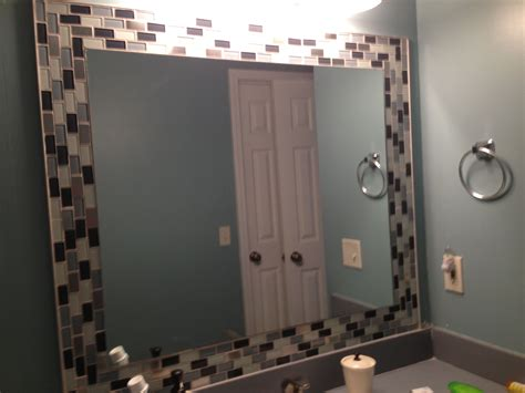 Tiled Bathroom Mirrors by Glass Tiles Around Mirror Jazzes Up Any Bathroom So Easy