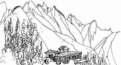 Mountain Drawing Coloring Pages Printable Wing Mountains