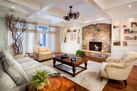 Design Fieldstone Fireplace In Living Room