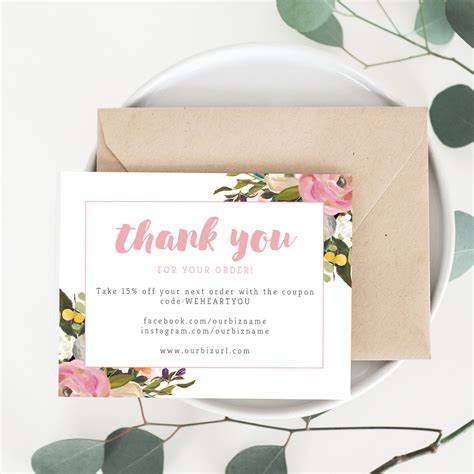 thank you card template maker printable business thank you cards template