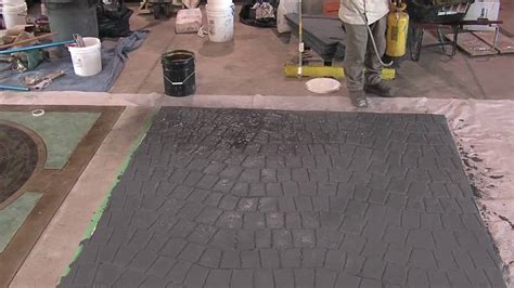 antique spray  stamped concrete overlays youtube