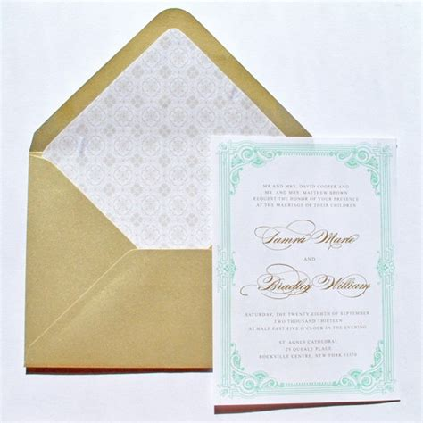 Tiffany Blue And Gold Wedding Invitations By Whimsy B