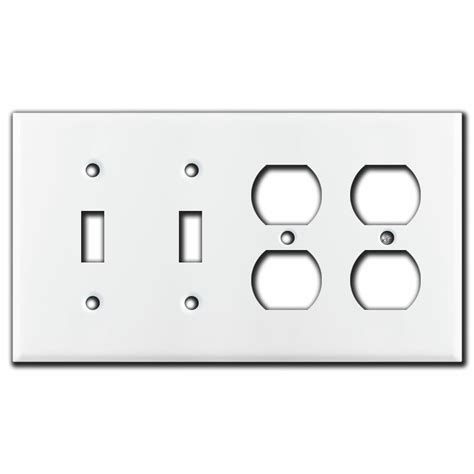 toggle  duplex outlet  gang light switch wall plates white
