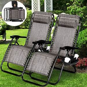 2, Zero, Gravity, Folding, Lounge, Beach, Chairs, Utility, Tray, Outdoor, Recliner, Brown
