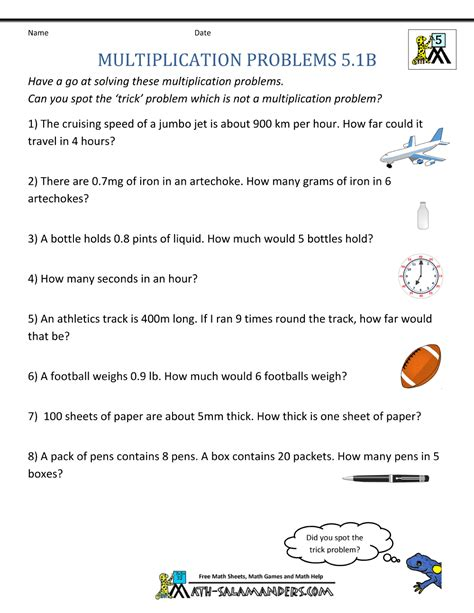 multiplication problems printable 5th grade