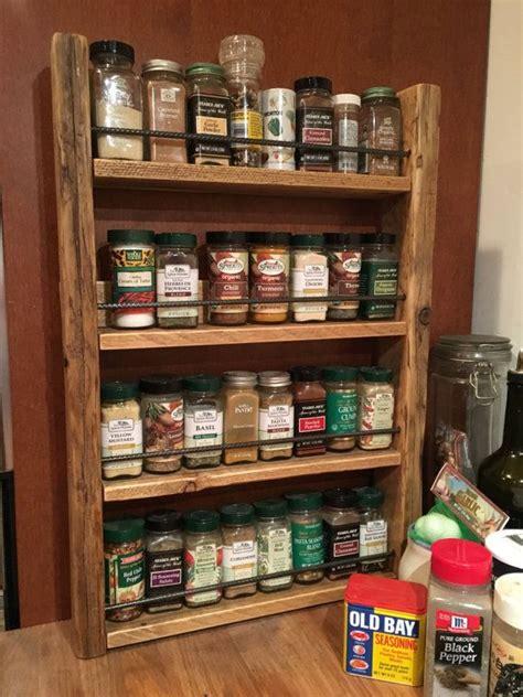 spice rack storage  spices rustic wood kitchen