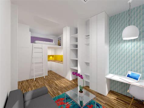 salon cuisine ouverte ancienne loge de gardien transformée en studio mezzanine